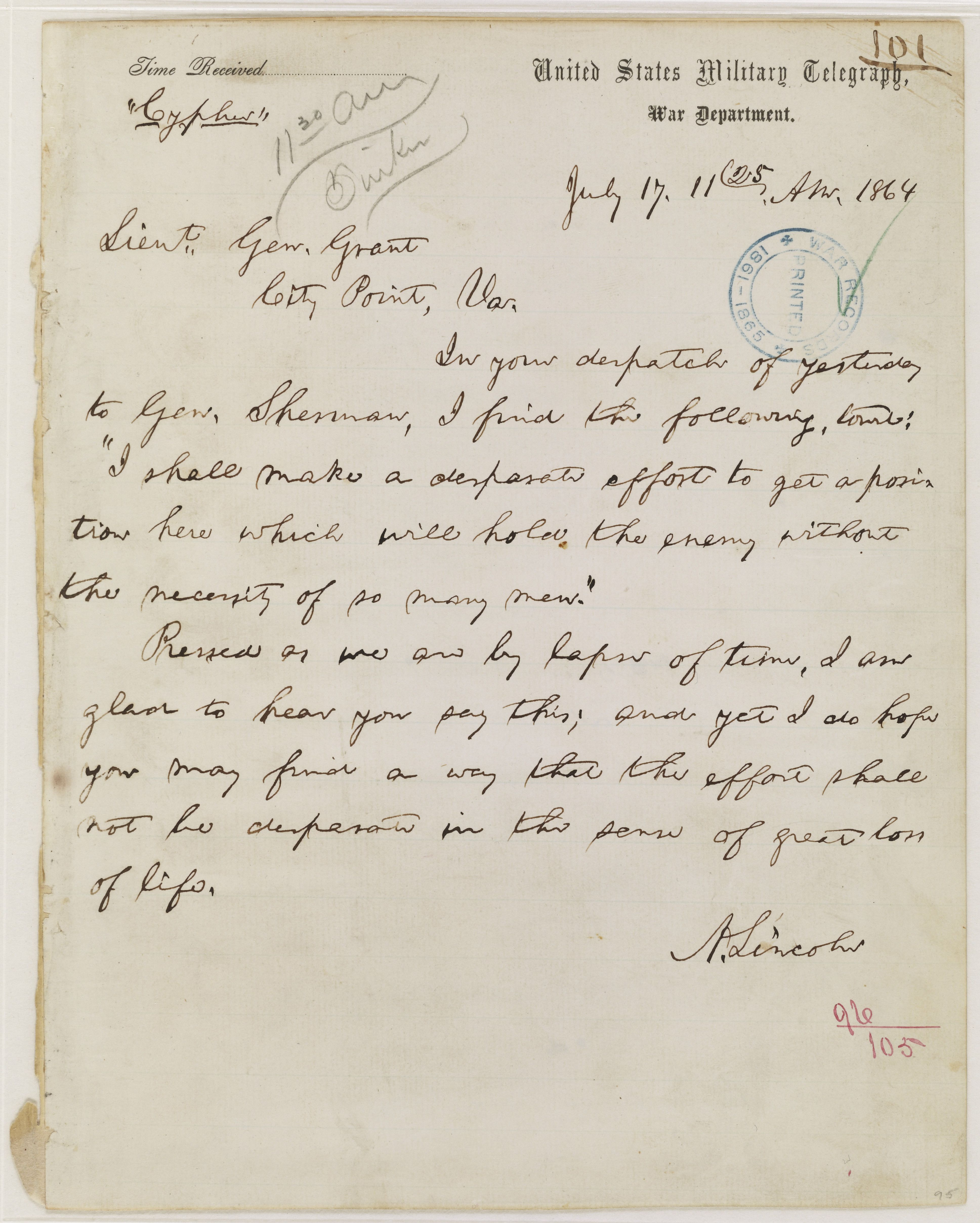 This is a telegram from President Abraham Lincoln to