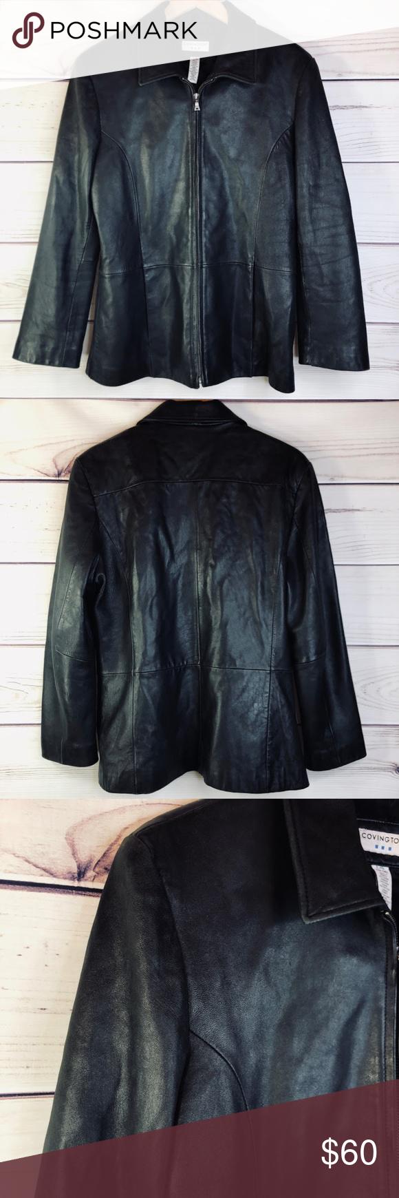 Covington Black Genuine Leather Zip Up Jacket Womens Black Leather Jacket Flattering Fashion Jackets [ 1740 x 580 Pixel ]