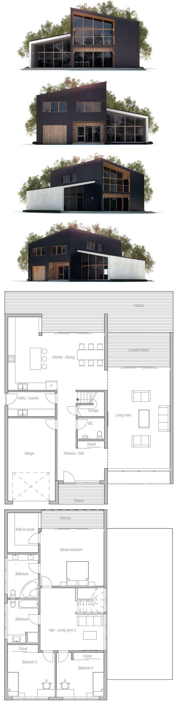 House Plan In Modern Architecture Three Bedrooms Garage
