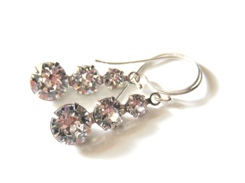Modern Swarovski Crystal Earrings - Clear Crystal and ...