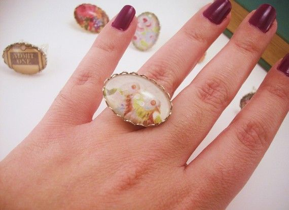 Clearance sale Silver plated sparrow birds ring by JacAndElsie, $6.50