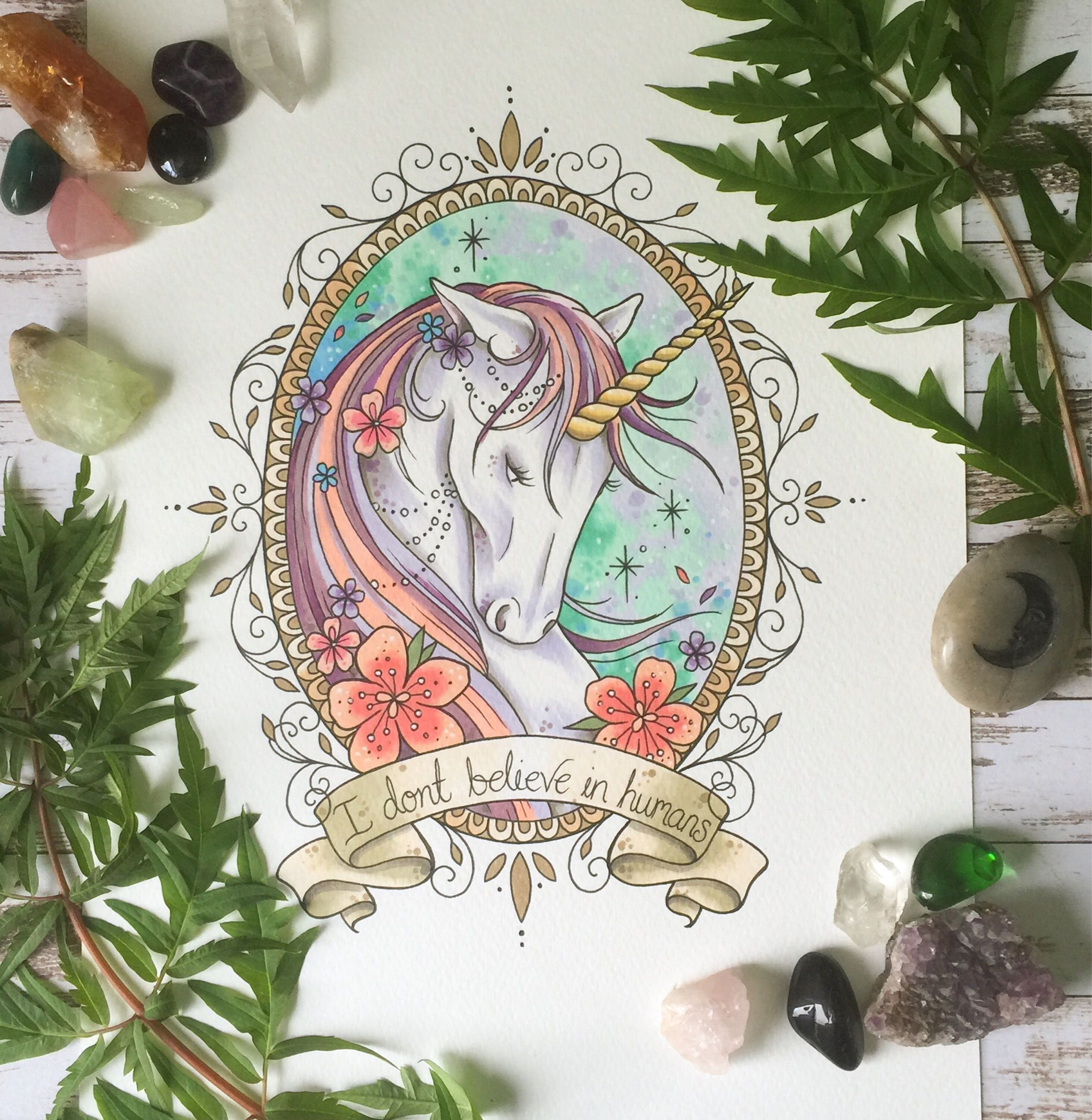 Unicorn Tattoo Print Unicorn Art Tattoo Print Tattoo Style Art
