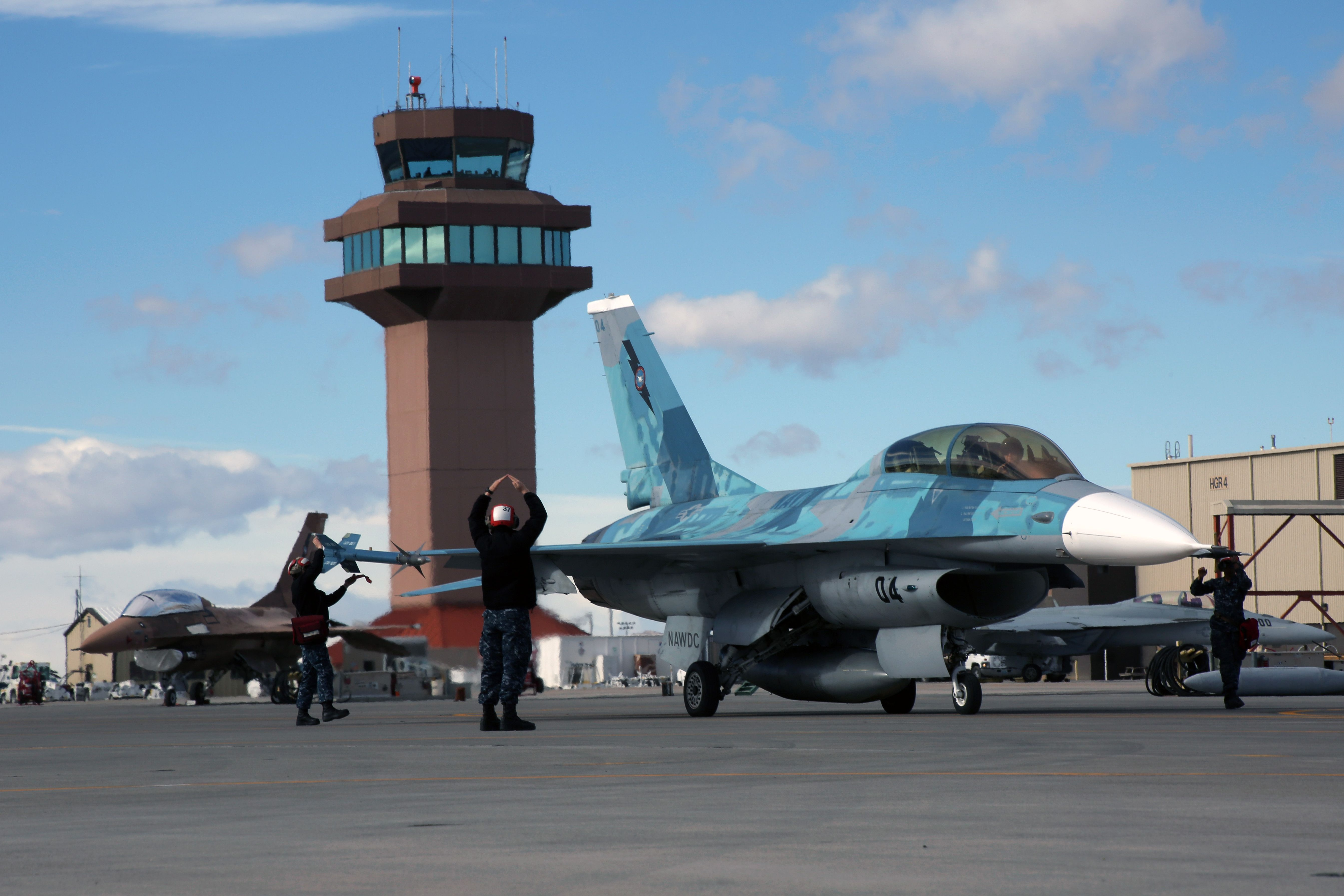 An F16 Viper assigned to NAWDC during final flight check