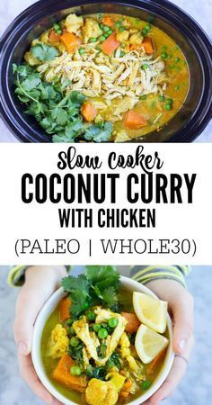 With just a few minutes of prep, you can come home to this fragrant, all in one, tasty Slow Cooker Coconut Curry with Chicken. Great for easy weeknight meals. Dairy free. Paleo. Whole30. Gluten free.