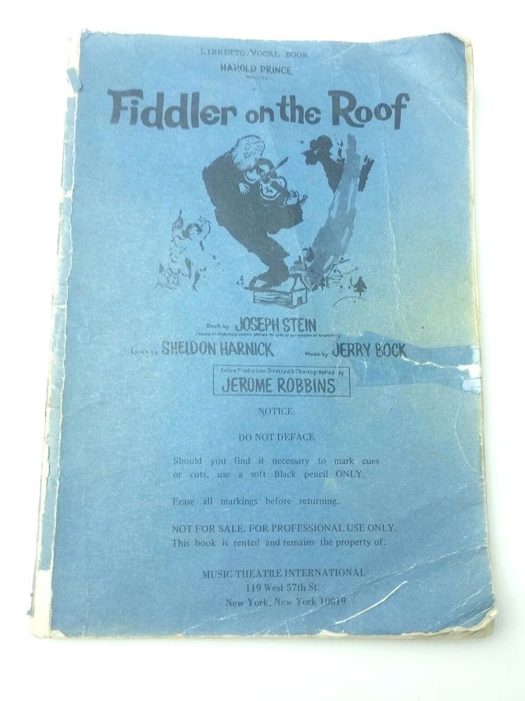 Fiddler on the roof libretto vocal book harold prince