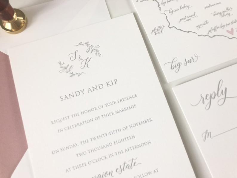 The Enchanted Suite Sample Letterpress Wedding Invitations
