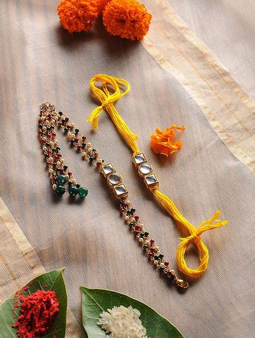 Design 10 Raksha Bhandan Handmade Rakhi Bracelet With Stone Work Kundan Peacock Design For Brother Bhaiya Celebration
