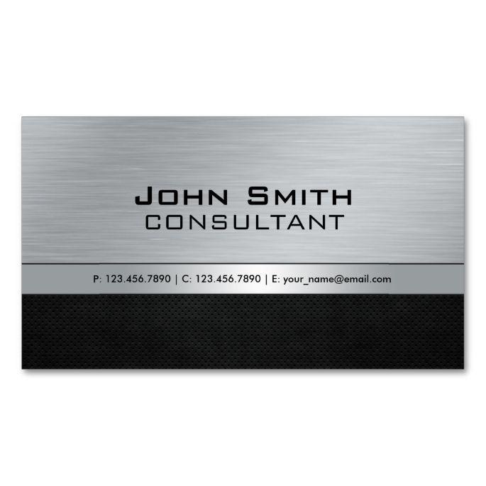 Professional Elegant Modern Black Silver Metal Business Card Zazzle Com Metal Business Cards Elegant Business Cards Attorney Business Cards