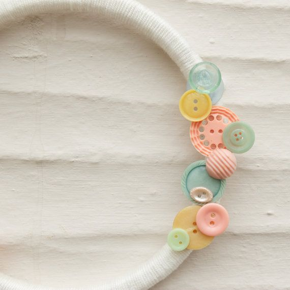 Pastel Teal Peach & Yellow Button Wreath by amooma on Etsy, £15.00