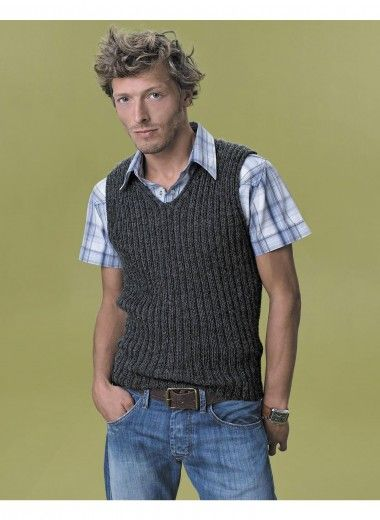 MS005 Knitting Pattern homme pullover sans manche sans manches Pull In DK ou 4 Plis Fil