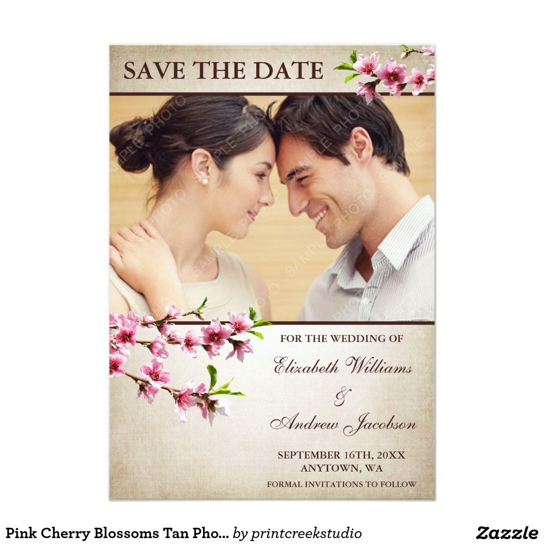 Pink Cherry Blossoms Tan Photo Save The Date 5x7 Paper Invitation