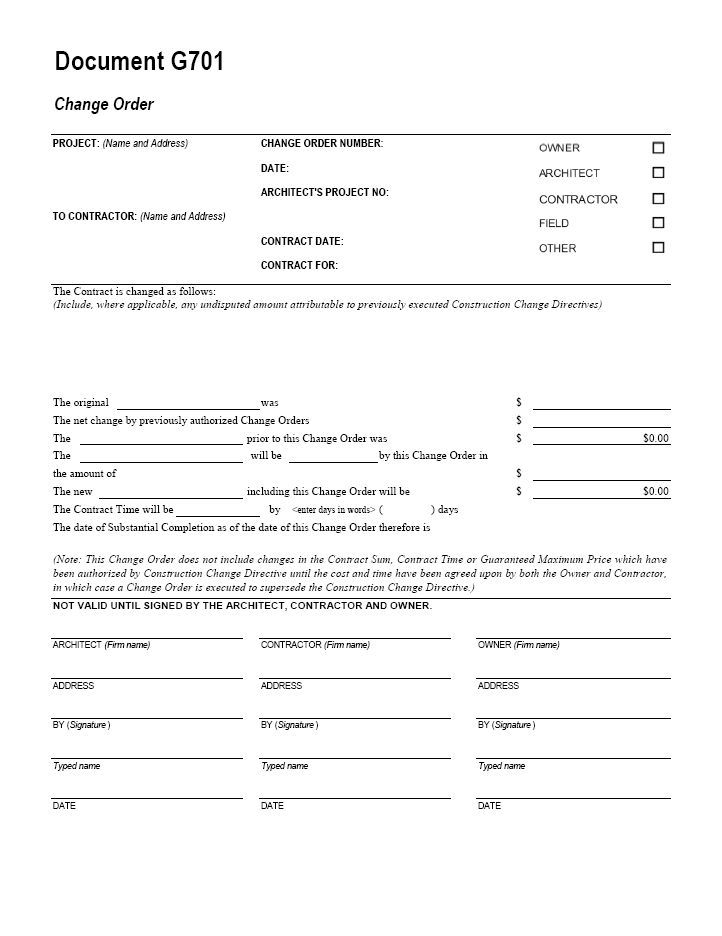 AIA G Change Order Form Template For Excel Change Order Form - Construction contract change order template