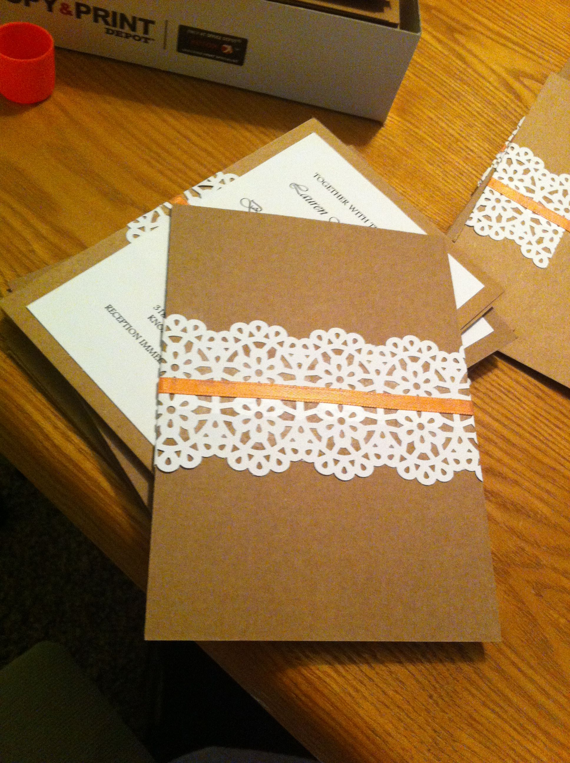 DIY wedding invitation...bought a Martha Stewart lace looking paper ...