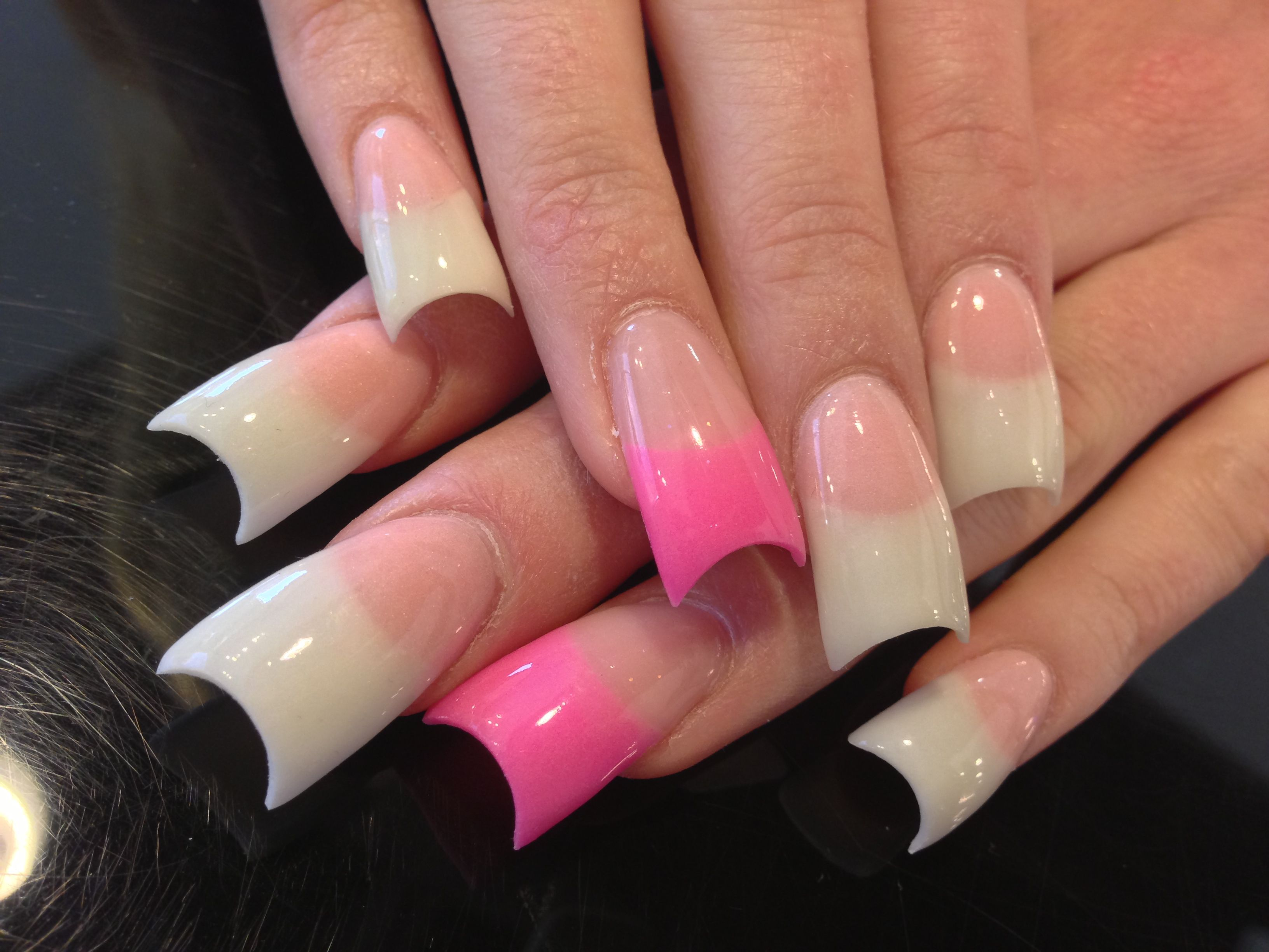 Pink and white flares with dip | Makeup & Nails | Pinterest ...
