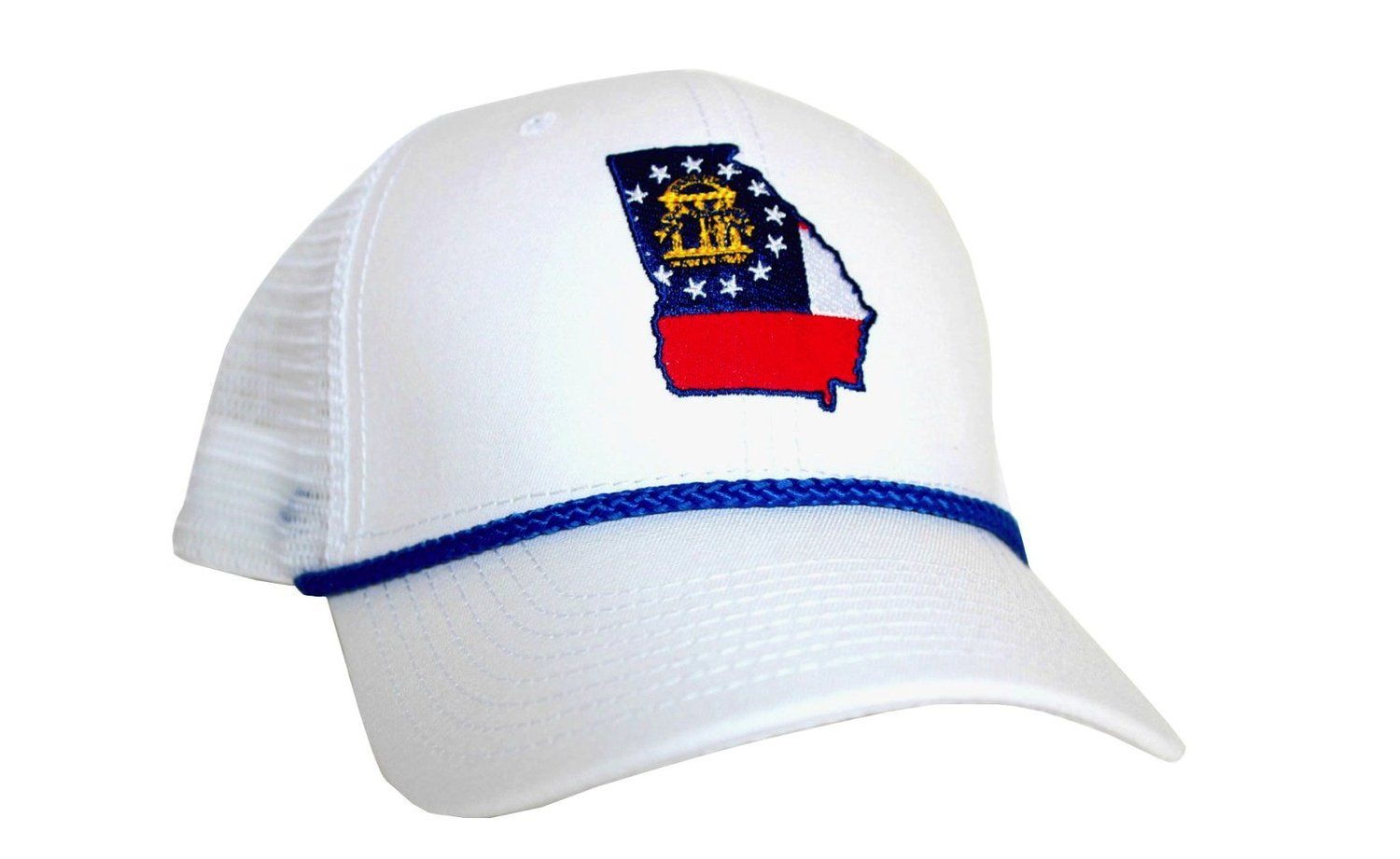 00aa51d4d28ec Peach State Pride Georgia Flag Mesh Trucker Hat Stay Southern-White at Amazon  Men s Clothing store