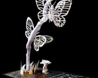 Book Sculpture - Paper Art - Altered Book - Paper butterflies on a branch.