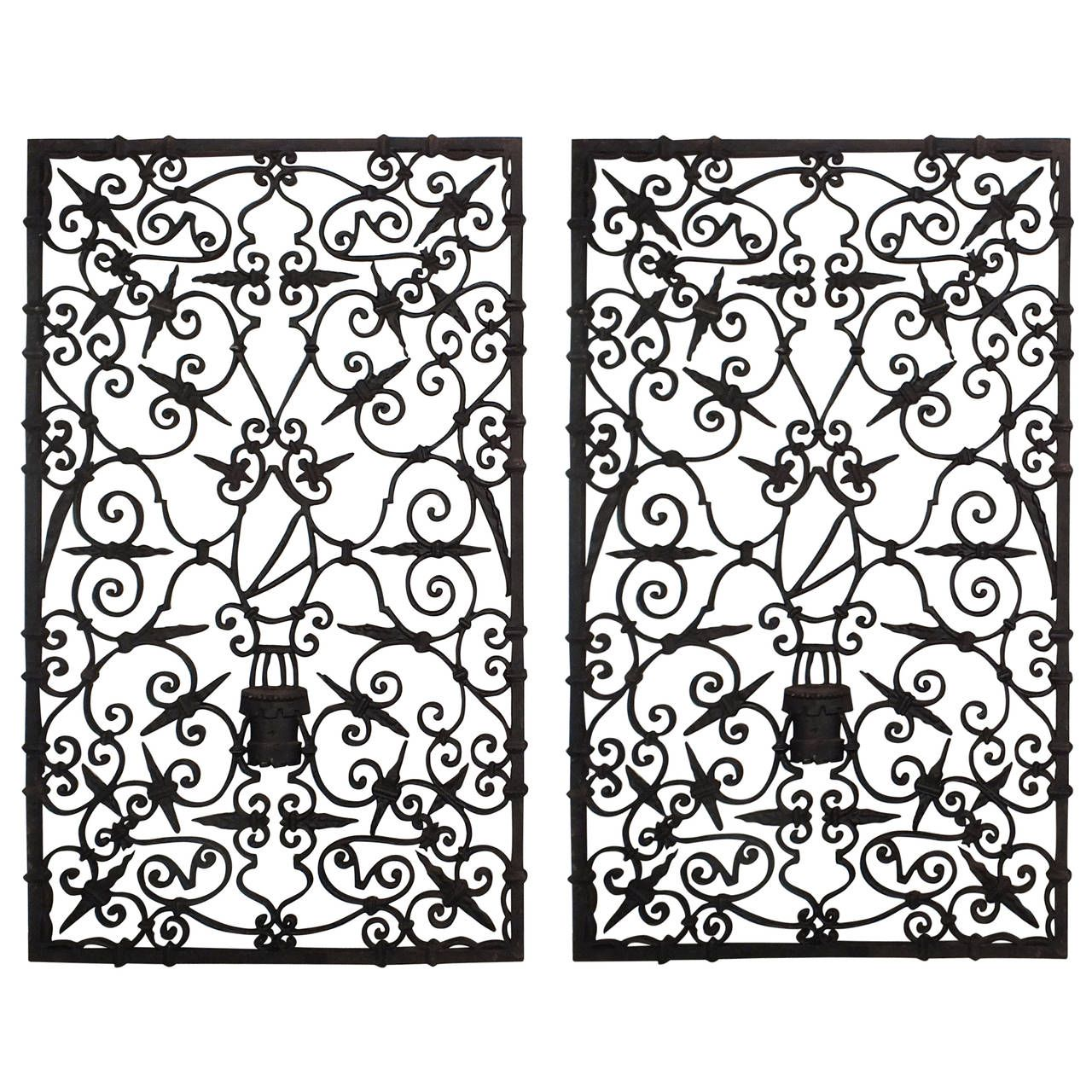 Cast Iron Wall Decor Pair Of 1930S Cast Iron Wall Decor Plaques Or Doors  Garden Doors