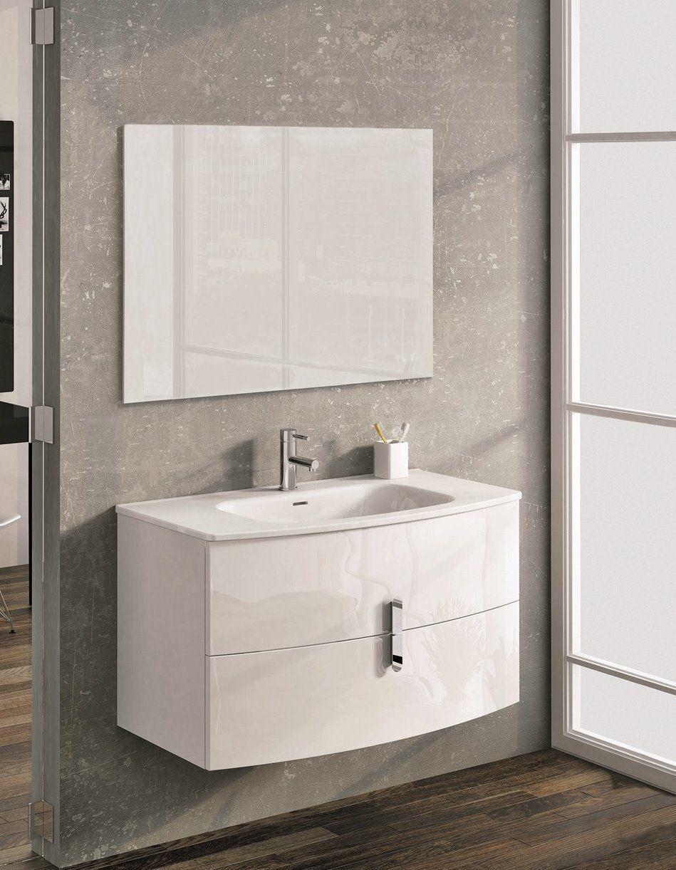 Spain Style 39 Inch Modern Wall Mount Bathroom Vanity White Finish