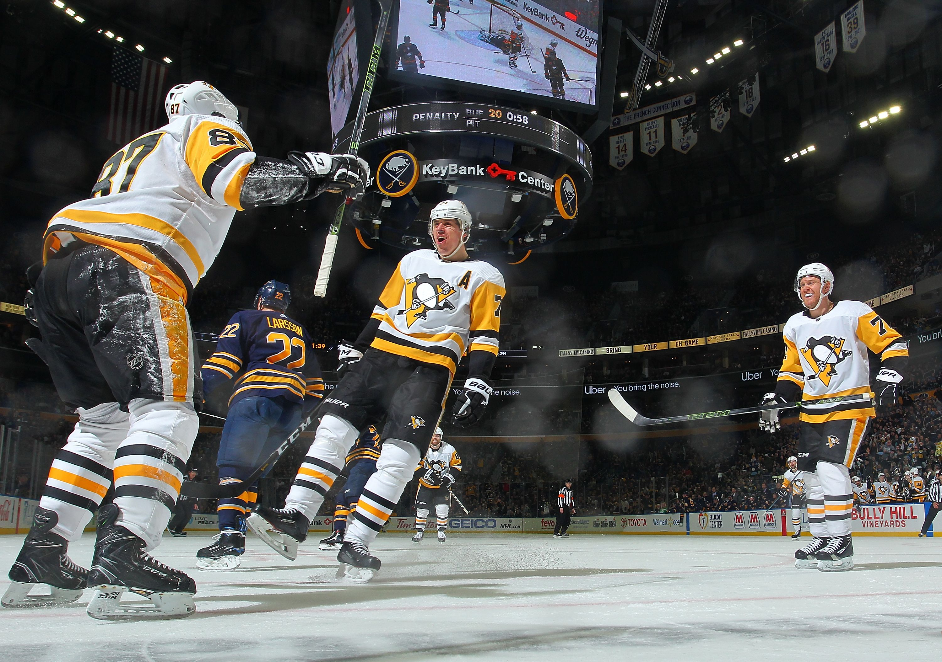 March 1 2019 At Buffalo Sidney Crosby Finished With Two Points 1g 1a To Bring Him Within One Point Shy Of 80 Pittsburgh Penguins Lets Go Pens Evgeni Malkin