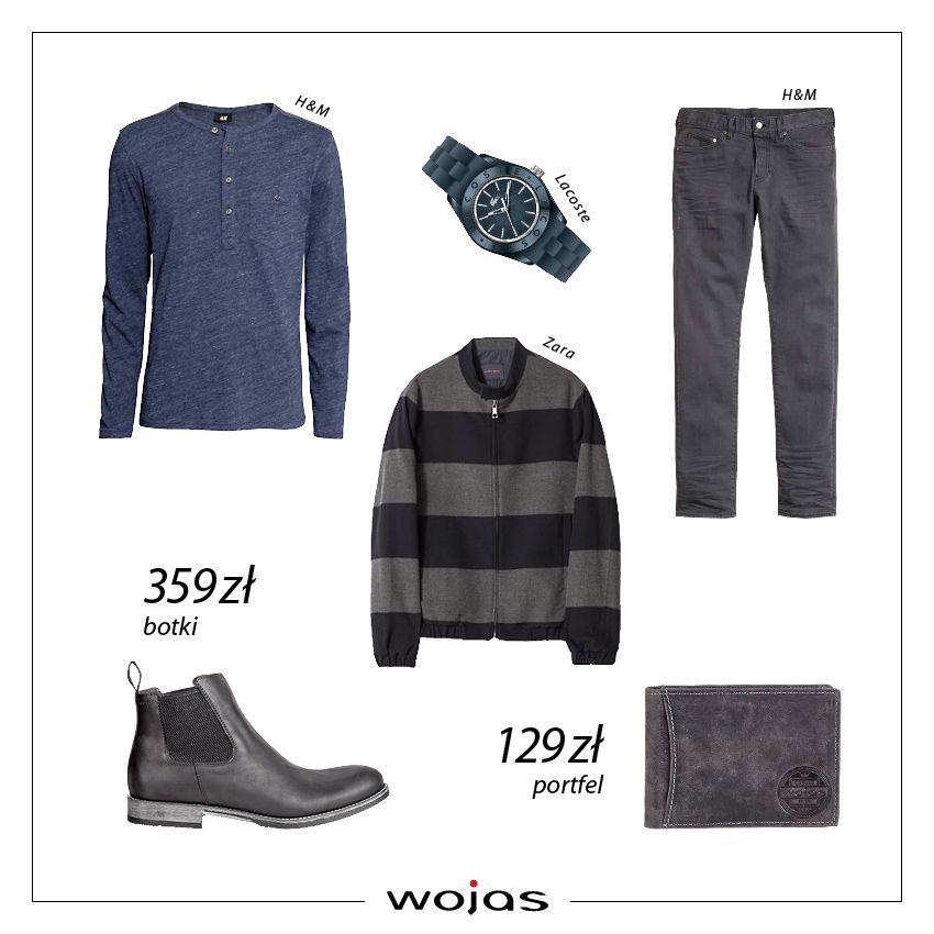 Granatowa bluzka z długim rękawem świetnie współgra z czarnymi spodniami i swetrem w paski. Uzupełnieniem stylizacji są czarne sztyblety (4205-91) i portfel Wojas (4832-50).