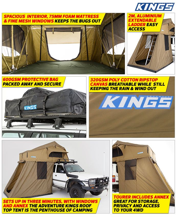 Adventure Kings - Roof Top Tent with Annexe  u0026 Outdoor Products - Australia  sc 1 st  Pinterest & Adventure Kings Roof Top Tent with Annex | Camping | Pinterest ...