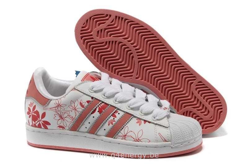 3d2d5d4f393 Adidas Superstar II Blanc Fleur Rouge Femmes