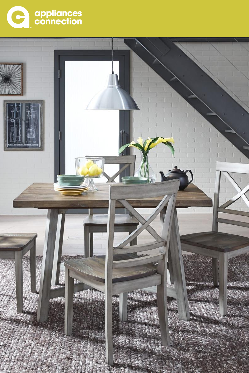 f3d040ac1fbe The Fairhaven dining room set has a relaxed go anywhere style with its  comfortable cross-backed chairs and simple clean lines. The table also  boasts a sleek ...