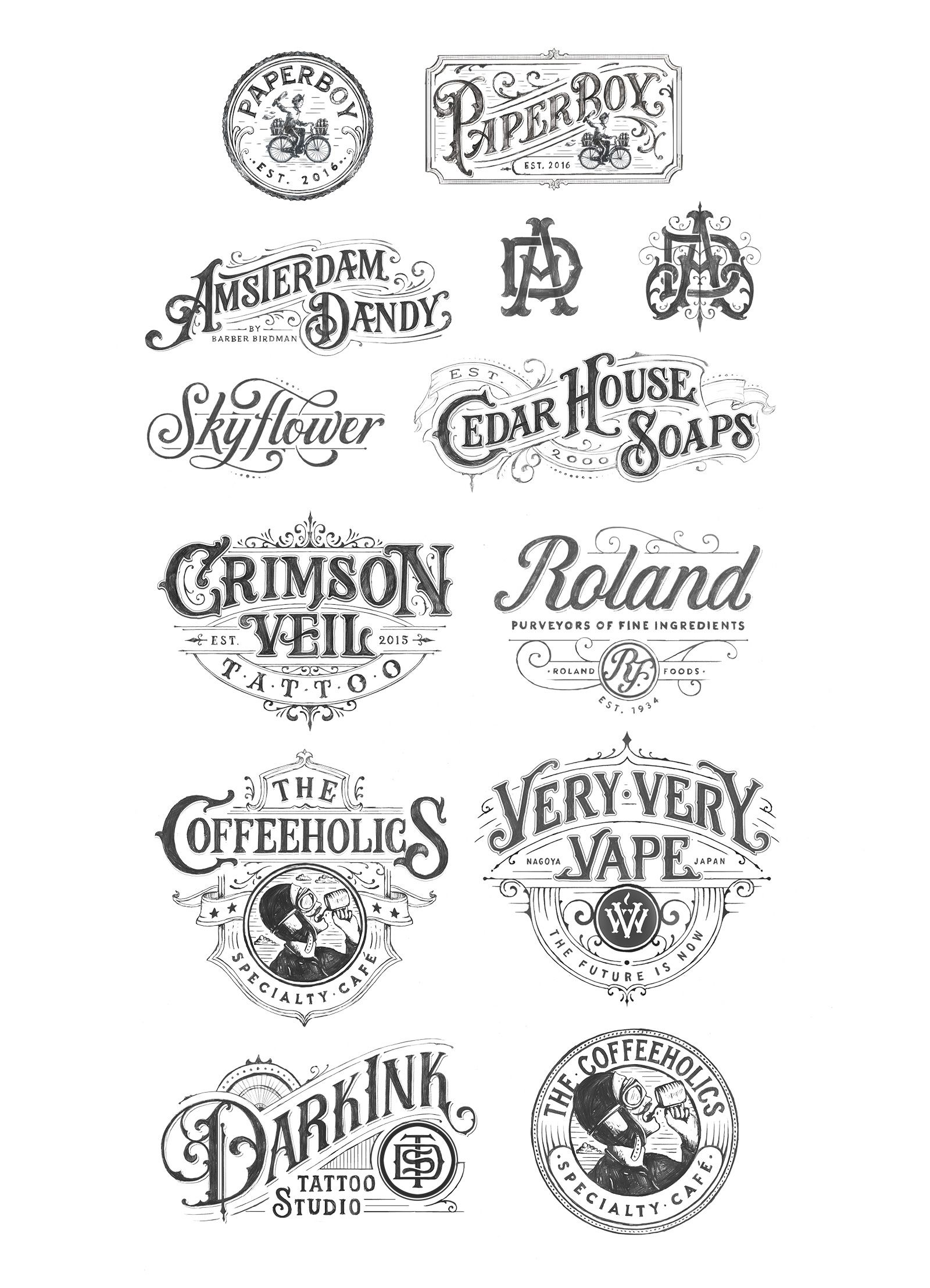 Collection of handdrawn Logotypes from 2016 on Behance
