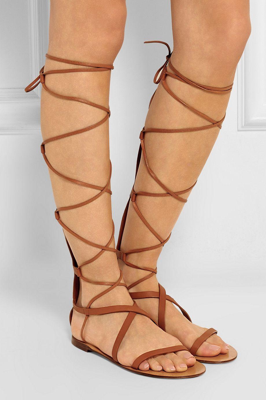Valentino|Aphrodite leather sandals|NET-A-PORTER.COM