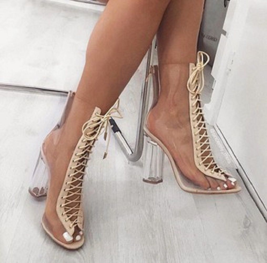 84d3443dc962 Cape Robbin Bailey Nude Open Toe Lucite Clear Perspex Heel Lace Up Ankle  Bootie