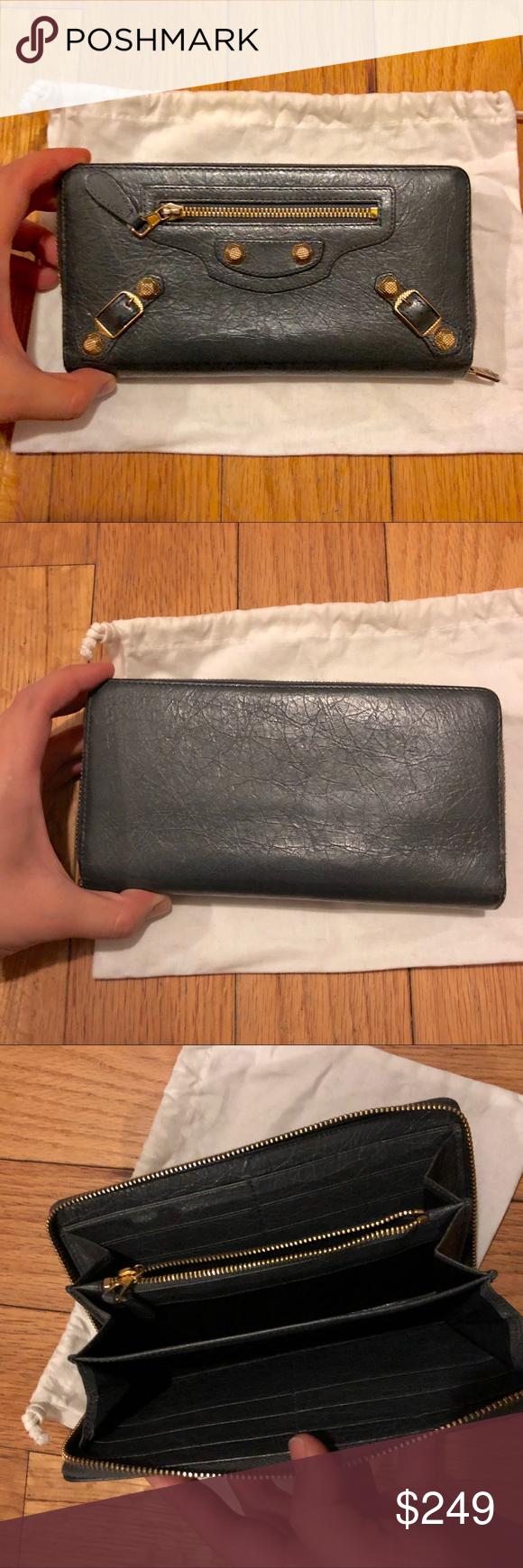 Balenciaga Long Wallet Grey With Gold Hardware Long Wallet Balenciaga Bag Balenciaga