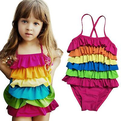 Kid Girl Ruffle One Piece Bikini Monokini Swimsuit Swimwear Summer Beach Bathing #fashion #clothing #shoes #accessories #kids
