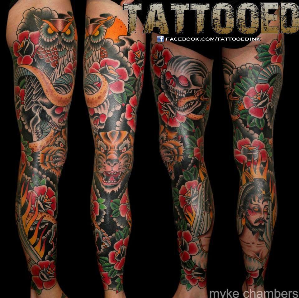Lower leg guys traditional sleeve tattoos - Traditional Leg Tattoo Traditional Leg Sleeve Tattooed By Myke Chambers Philadelphia Pa