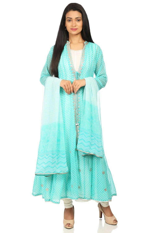 9e48148e79 Turquoise & Off White Art Silk Kalidar Suit Set from BIBA store @ahmedabad  one