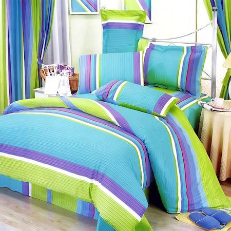 Lime green blue purple stripe teen girl bedding twin full for Blue green purple room