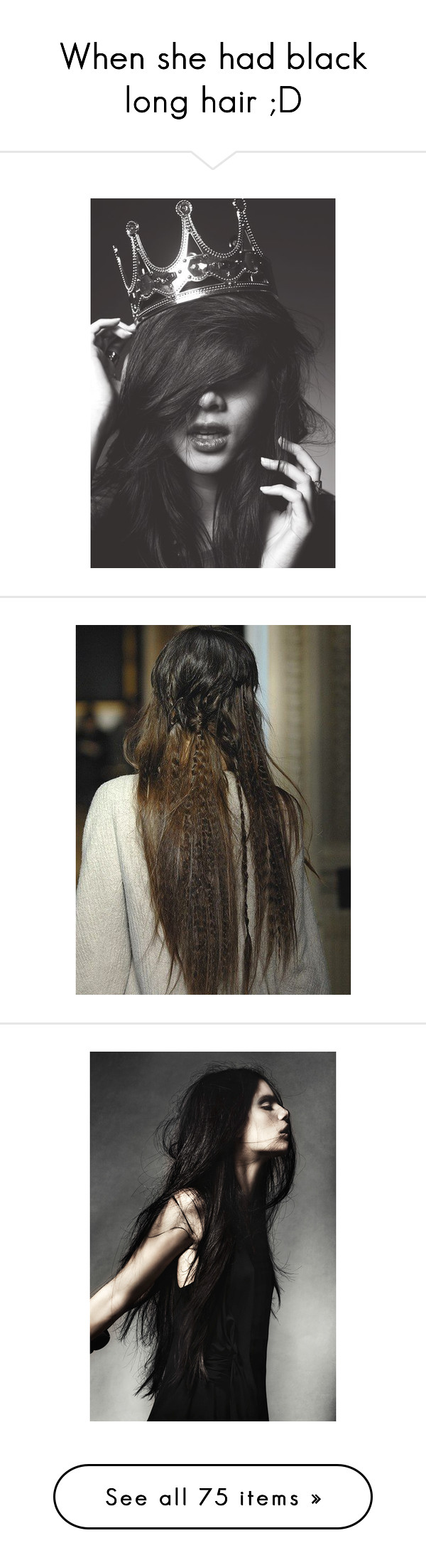 """""""When she had black long hair ;D"""" by lunaashton ❤ liked on Polyvore featuring beauty products, haircare, people, pictures, hair styling tools, hair, backgrounds, hairstyles, cabelos and hair styles"""