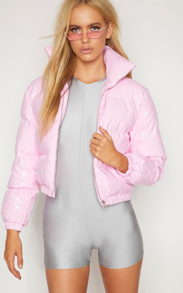 Pink Vinly Puffer In 2021 Pink Puffer Jacket Pink Puffer Coat White Cropped Jacket [ 1180 x 740 Pixel ]