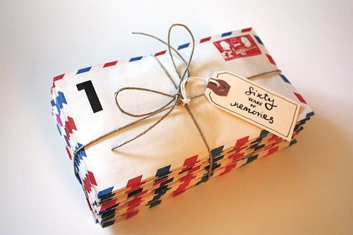 """I love this birthday gift idea! Get 60 (or however old they are) """"memories"""" of a parent from their friends and family (super easy via email) and then put each one in an envelope for them to open on their birthday."""