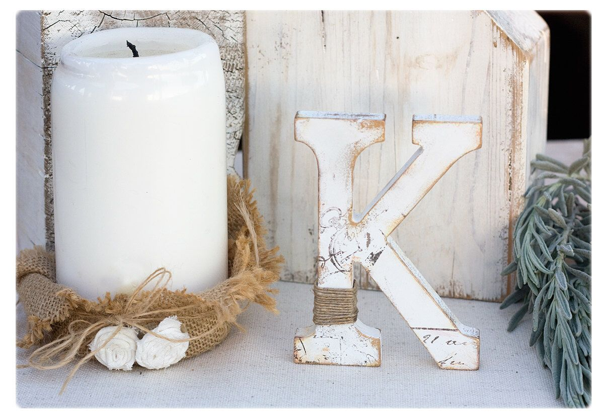 Rustic wedding Letter: Stand Alone Baby Nursery letter M ...