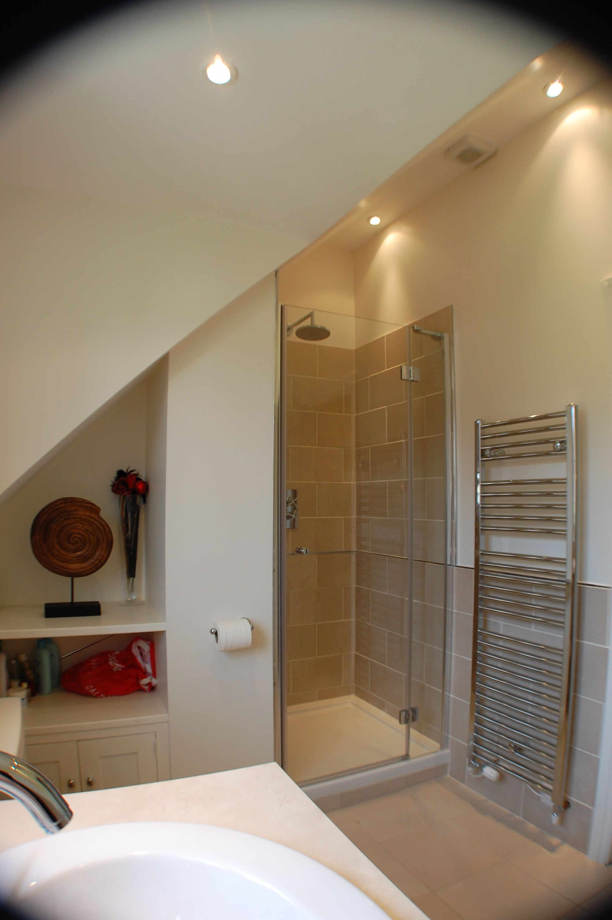 Shower Fitted Under Slope Of The Roof Upstairs Bathrooms Bathroom Shower Room
