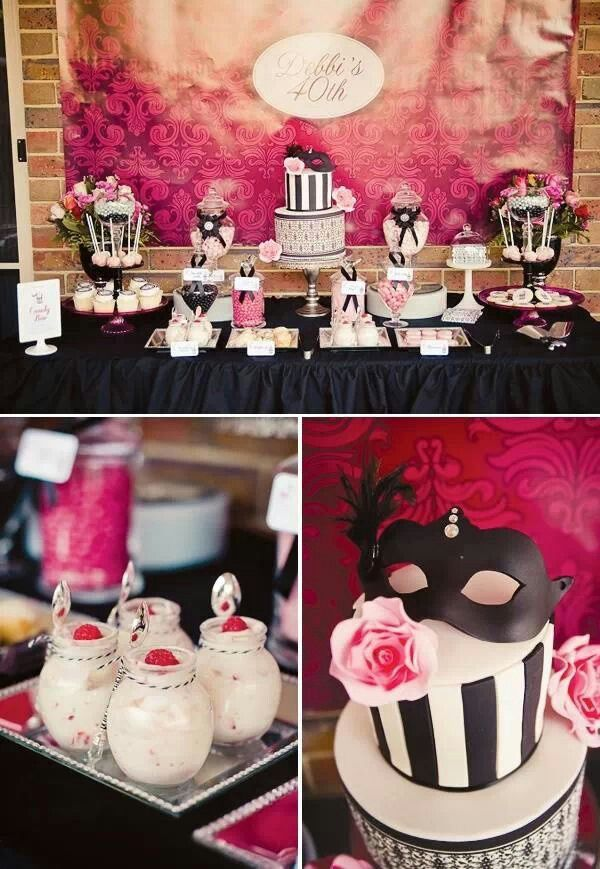 Black white and pink birthday decorationsSweet Soirees