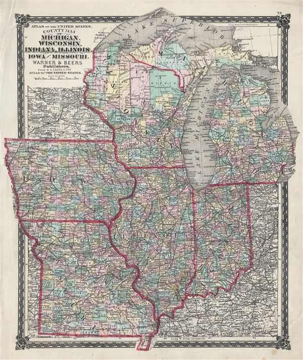 map of wisconsin and iowa 1875 Beers Map Of The Midwest Wisconsin Iowa Missouri Illinois map of wisconsin and iowa