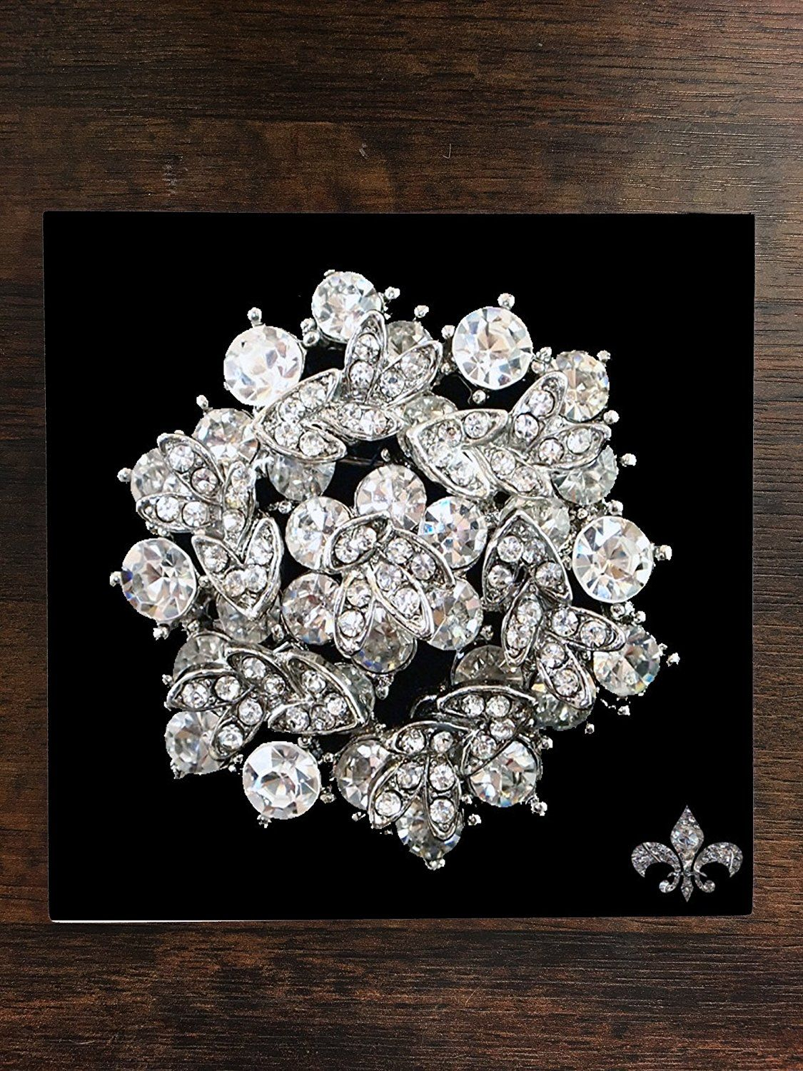 Rhinestone Brooch Pin Crystal Brooch Design Print Image
