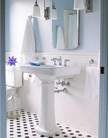 Blue Walls Black And White Floor Traditional Bathroom Bathroom Design White Bathroom Inspiration