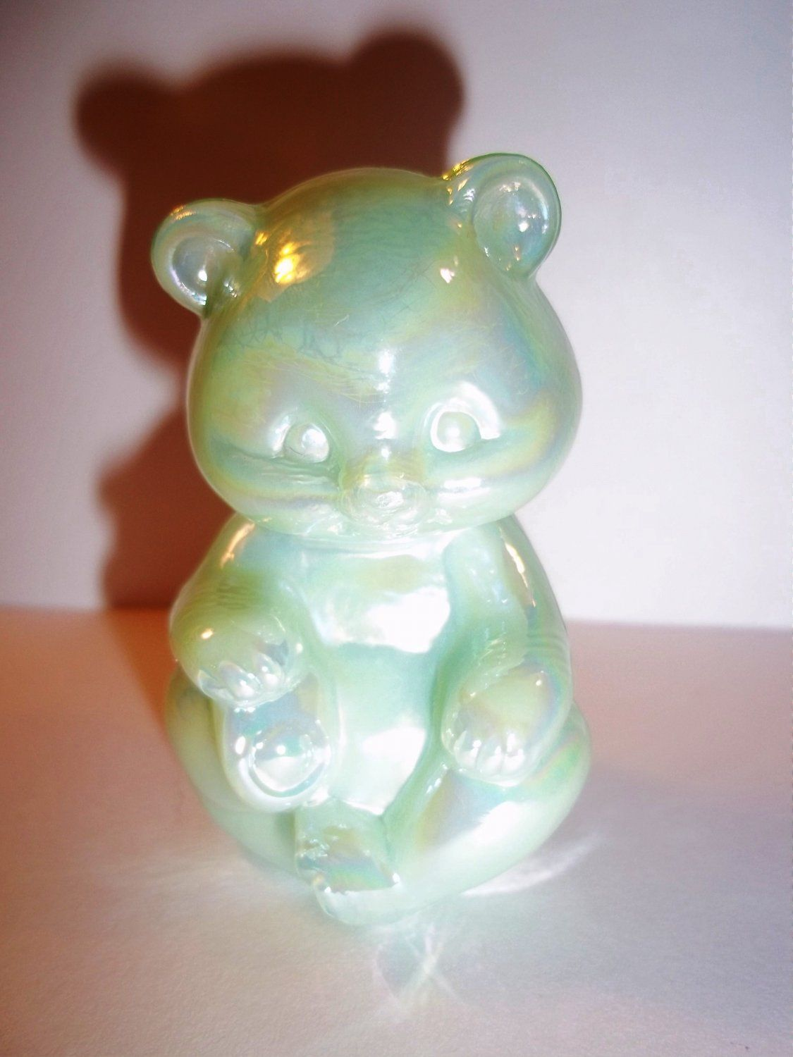Fenton Glass Sea Green Carnival Martha Stewart Green Sample Mini Bear Figurine