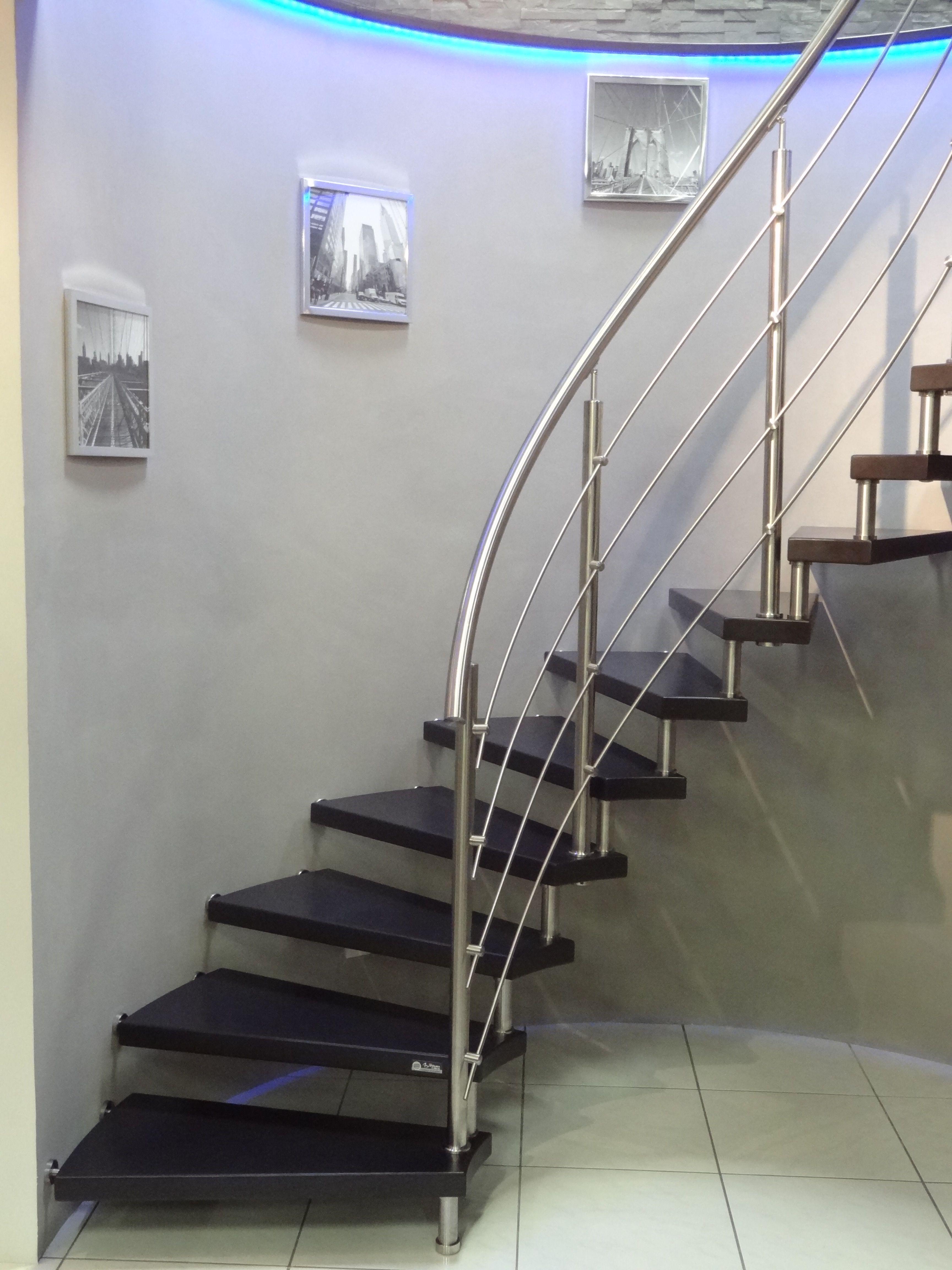 Escalier intérieur design sans contre-marche, main-courante courbe ...