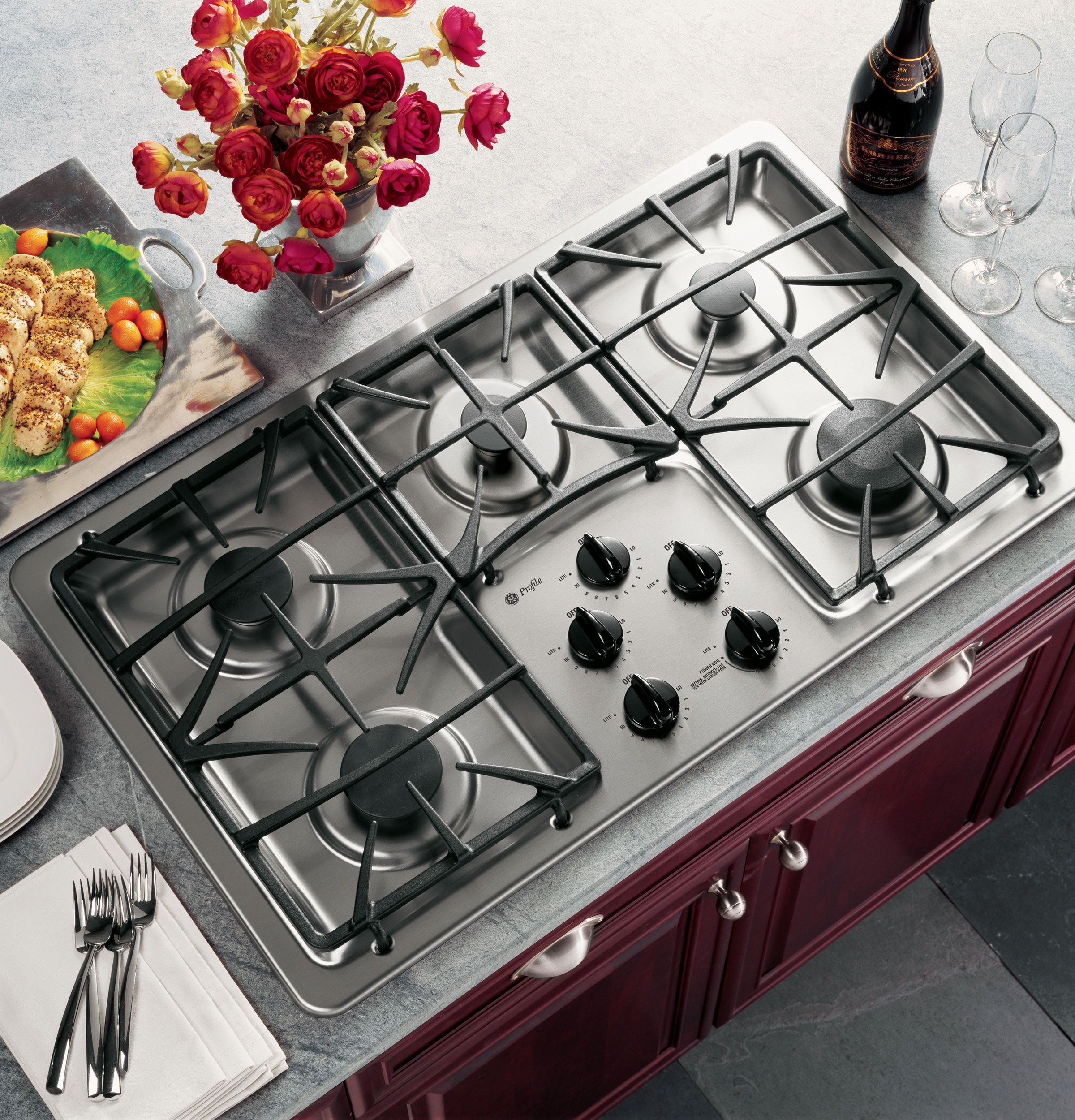 "JGP963SEKSS | GE Profile™ 36"" Built-In Gas Cooktop 