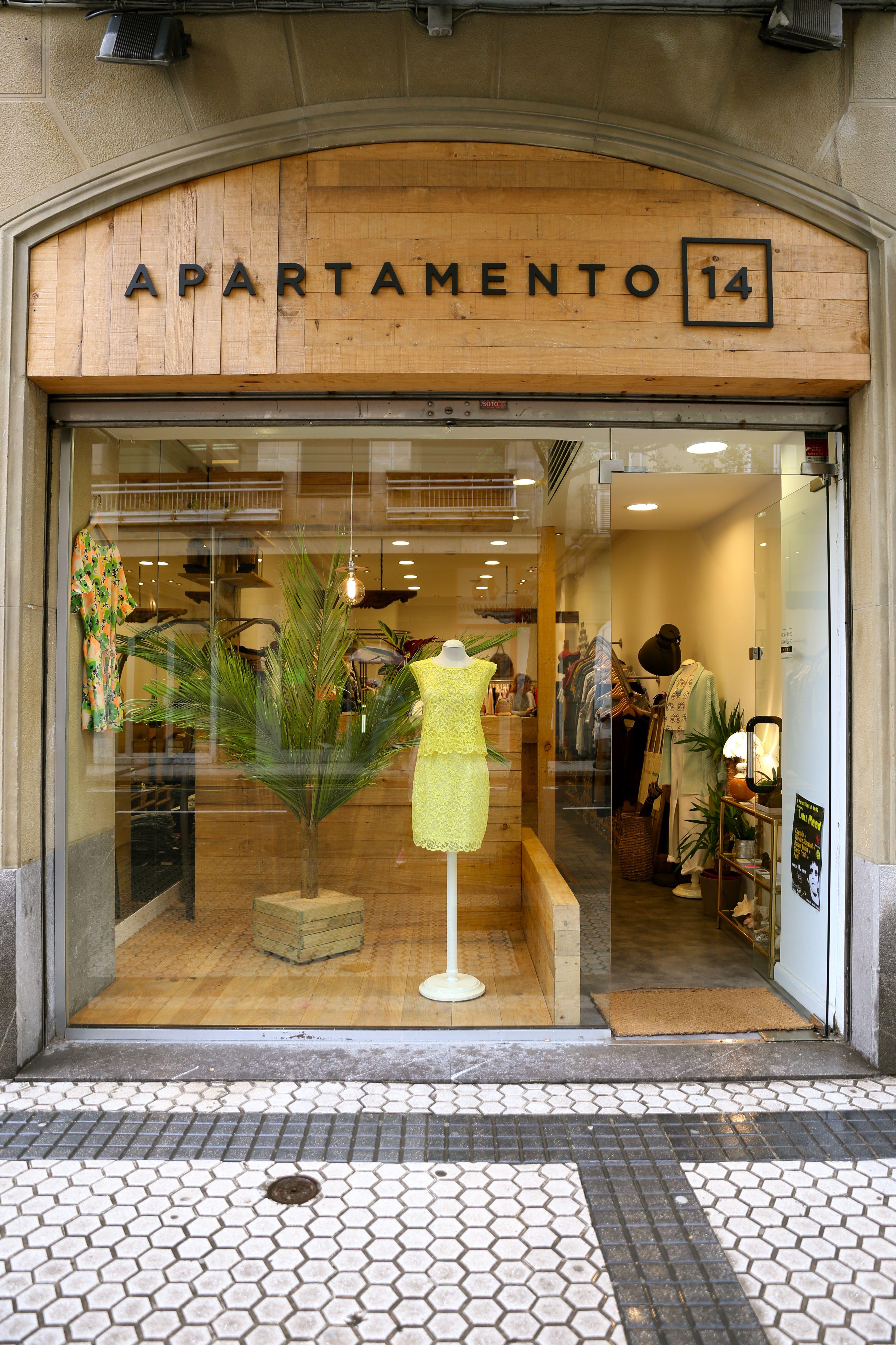 Escaparate para la tienda Apartamento 14, realización de una palmera con hojas naturales.