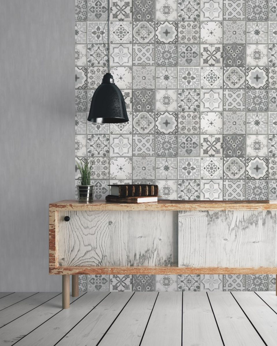 carreaux de ciment deco papier peint salon  Papier peint pour