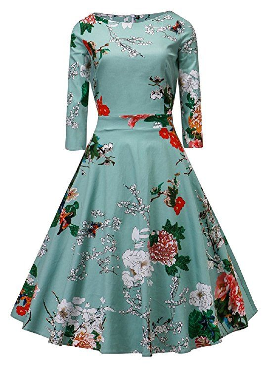 Vogtage 1950 S Long Sleeve Retro Floral Vintage Dress With Defined Waist Design At Amazon Women Vintage Floral Dress Retro Style Dress Green Long Sleeve Dress